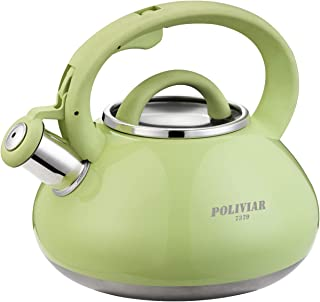 Poliviar Tea Kettle, 2.1 Quart Green Loud Whistle Food Grade Stainless Steel Teapot, Anti-Hot Handle and Anti-Rust, Suitable for All Heat Sources (JX2018-GRE20)