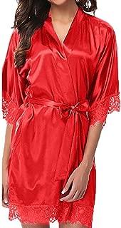 YKA Women's Lady Sexy Lace Sleepwear Satin Nightwear Lingerie Pajamas Suit