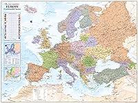 ヨーロッパ政治壁マップ - 53インチ x 39.5インチ マットプラスチック