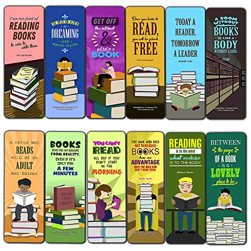 Creanoso I Love Reading Bookmarks (30-Pack) - Excellent Reading Rewards and Incentive for Young Readers Kids Boys and Girls - Stocking Stuffers