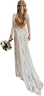 فساتين زفاف على الشاطئ للنساء للعروس 2019 فستان زفاف بوهيمي من الدانتيل بأكمام طويلة