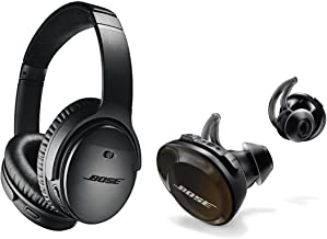 Bose QuietComfort 35 Wireless Headphones II with Microphone, Noise Cancelling, Black - With Bose SoundSport Free Wireless Headphones, Black