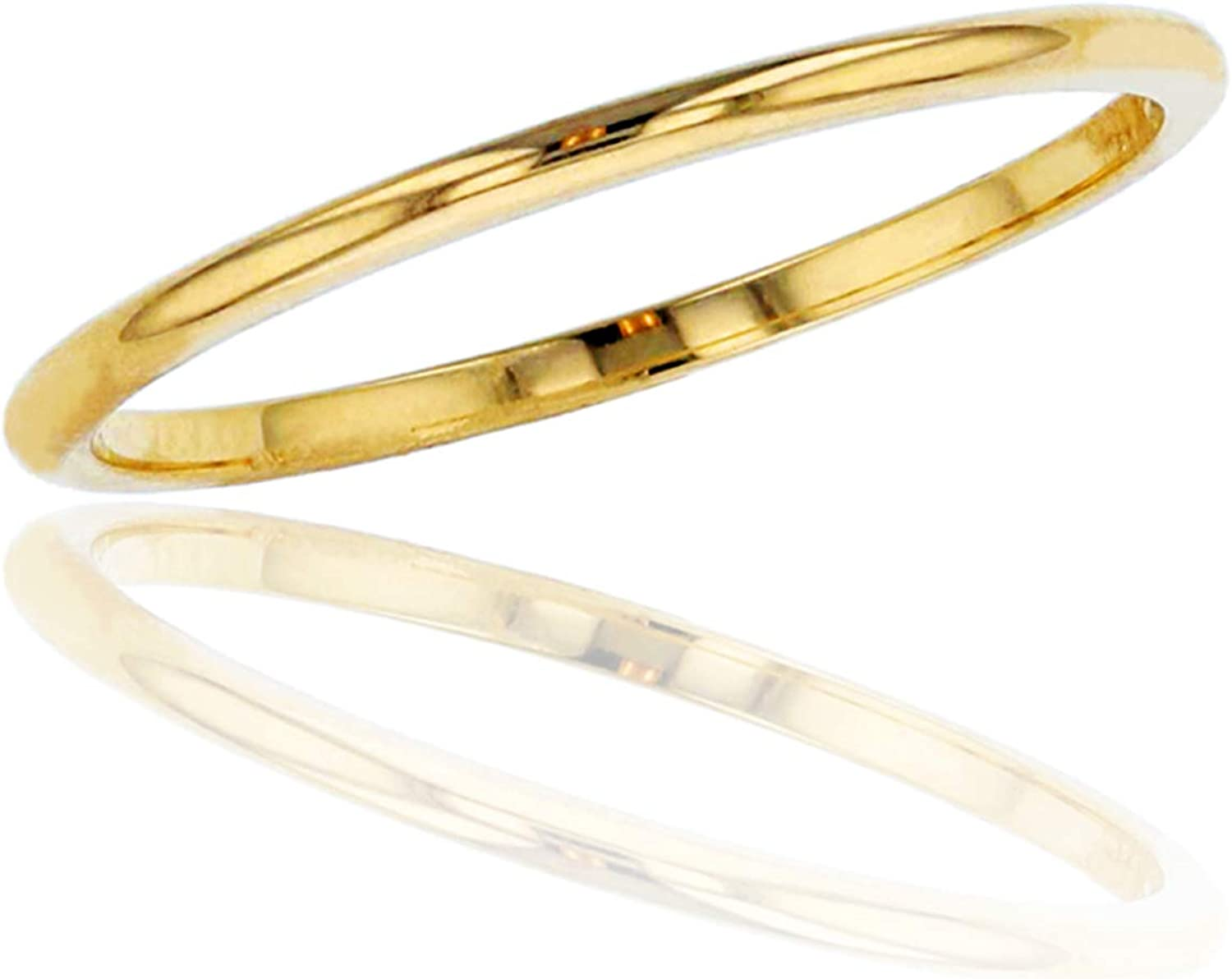 DECADENCE 10K or 14K Yellow White Plain and Polis Rose 1mm Gold Outlet SALE Purchase