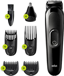 Braun 6 in 1 All in one Trimmer 3 MGK3221, Beard Trimmer, Hair Clipper, Black/Volt Green