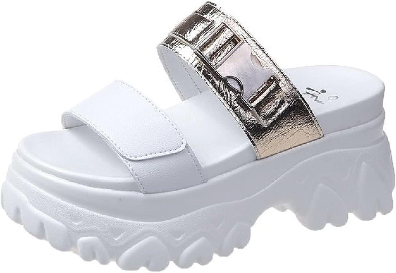 Women's Comfortable Slip on Height Increasing Slides Peep Toe Buckle Strap Durable High Heel Platform Slides Sandals