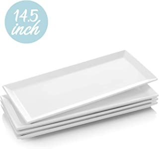 Krockery Large Porcelain Serving Platters, White Plates, Rectangular Serving Trays for Parties, - 14.5 Inch, Set of 4