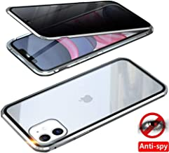 """Anti-Peep iPhone 11 Case, Anti-spy Magnetic Clear Double-Sided Privacy Screen Protector Magnets Metal Bumper 360°Full Body Cases for iPhone 11 6.1 inch (Silver, iPhone 11 6.1""""(Anti-Spy Double Glass))"""