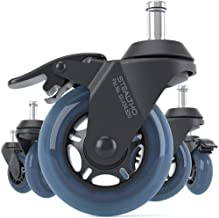 Office Chair Wheels with Brakes (Blue, 11)