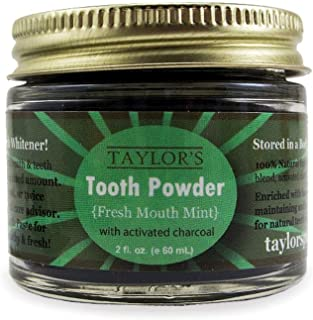 TAYLOR'S TOOTH Powder Natural with Xylitol & Activated Charcoal * MINT * Herbal Organic Vegan Paleo Plastic FREE Stored in GLASS - Made in USA! {2 ounce}