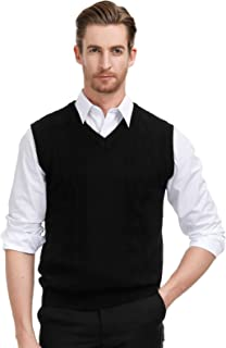 Men's V Neck Sweater Vest Cable Knitted Pullover Sweaters Vest