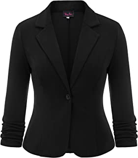 Hanna Nikole Women's Plus Size 3/4 Sleeves Casual Work Solid Color Knit Blazer