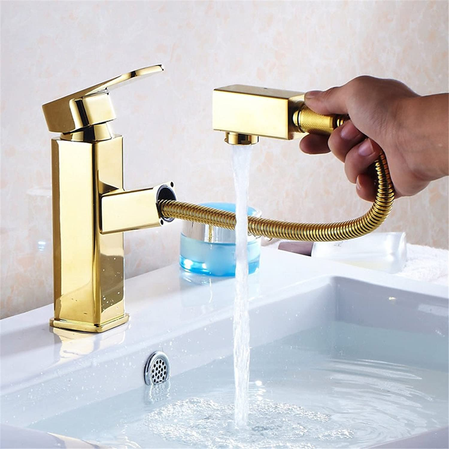 Hlluya Professional Sink Mixer Tap Kitchen Faucet Sink basin faucet hot and cold taps full Brass gold plated faucet pull the faucet