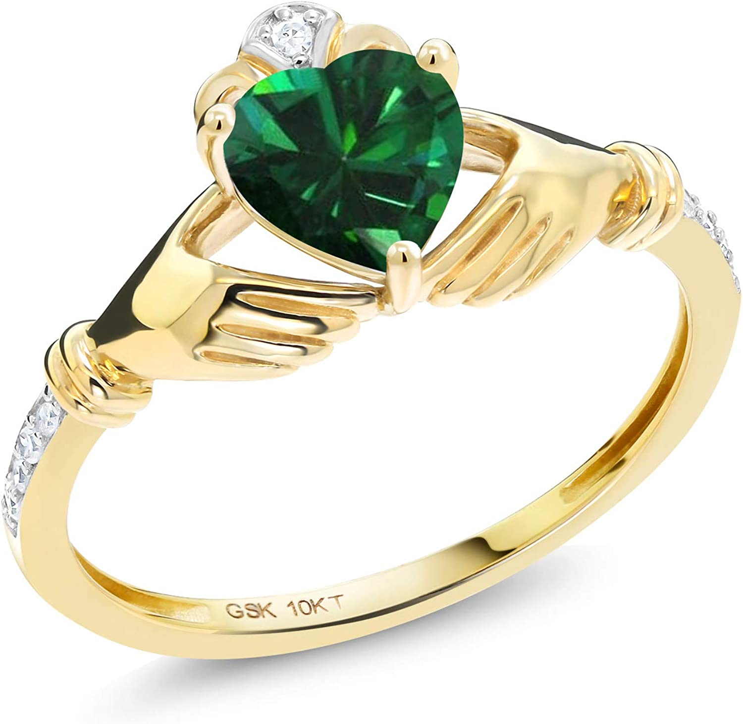 Gem Stone King 10K Yellow Gold Simulated Selling Diamo and Lowest price challenge Green Emerald