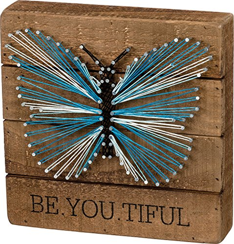 Primitives by Kathy String Art - Be.You.Tiful, 8x8 inches, Wood, Blue