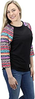 Sunshine&Rodeos Leopard Cheetah Ladies Serape Aztec Western Shirt Top Black