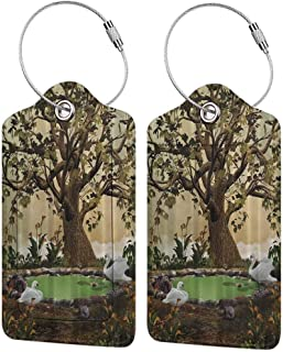 """Printed luggage tag Lake House Decorations Swans in a Garden with an Aged Tree Protect personal privacy W2.7"""" x L4.6"""""""