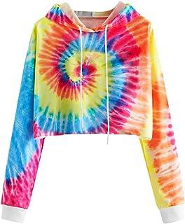 Women Tie-Dye Printed Hoodies Sweatshirt Coat, Ladies Autumn Long Sleeve Pullover Short Outwear
