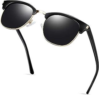 Semi Rimless Sunglasses Polarized for Men Women, Classic Retro Half Frame Sunglasses