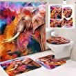 Britimes 4PC Colorful Elephant Shower Curtain Sets with Rugs, Bathroom Curtains Shower with Non-Slip Rug,Toilet Lid Cover, Bath Mat and 12 Hooks 72x72inch