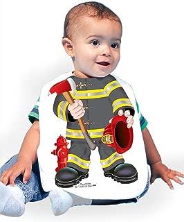 1209 Firefighter Black Baby Oversize Bib 0-18 Months White