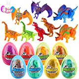 FiGoal 8 Pack Hatching Eggs Dinosaur Toys with 8 Easter Eggs Kids Class DIY Gift Set Student Toy Present Party Favor Goodie Bag