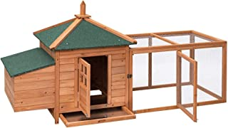 Tangkula Large Chicken Coop Wood Outdoor Garden Backyard Hen House Rabbit Hutch Poultry Small Animal Cage (Natural 78'')