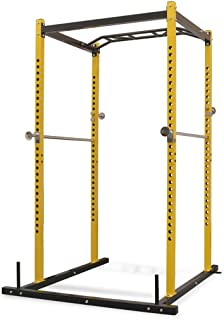 vidaXL Fitness Power Rack Workout Station Adjustable Equipment Dip Pull Up Multifunction Sport Tower Home Gym Yellow and B...