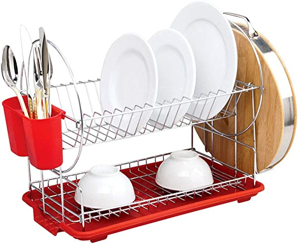 SSRSHDZW Dish Rack Multi Function Stainless Steel Kitchen Storage Rack Double Wash Plate Dish Rack Dish Dish Drain Pull Tray Rack Red