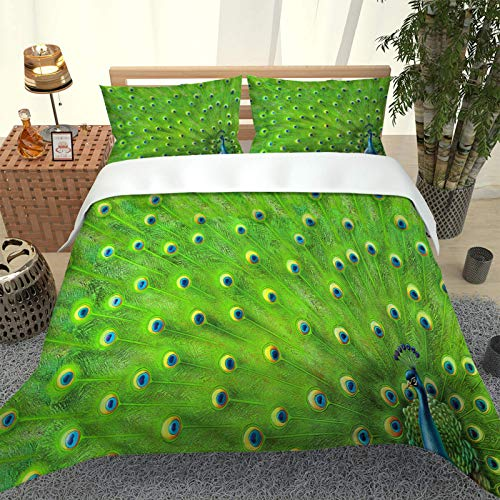 UDUVOG Bedding Set For Kids 135X200Cm, 3D Printing Green Peacock Feather Duvet Cover, 1 Soft Microfiber Duvet Cover And 2 Pillowcases, 3 Piece Set Suitable For Single And Double Bedding