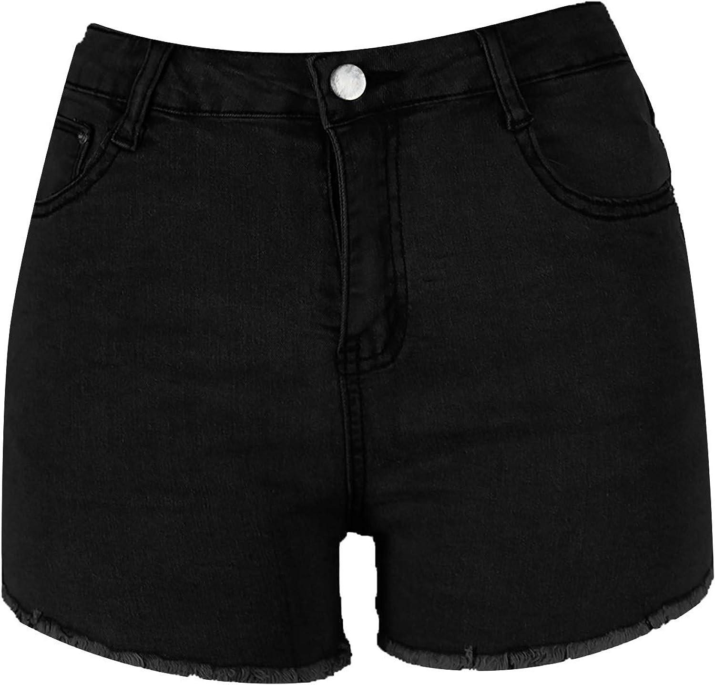 FUNEY Womens Shorts Denim High Waist Raw Hem Ripped Shorts Summer Washed Distressed Stretchy Plus Size Womens Shorts