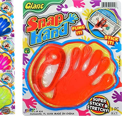 JA RU Jumbo Giant Sticky Hand Stretchy Snap Toys Pack of 1 Great Sticky Hands Party Favors Birthday product image