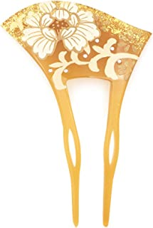 (ソウビエン) バチ型簪 牡丹唐草 ラインストーン 蒔絵調 二本足 髪飾り かんざし フォーマル ヘアアクセサリー 日本製