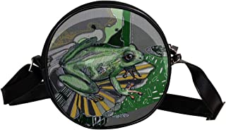 Coosun Umhängetasche mit Frosch-Motiv, Grün, Vektor-Design, runde Umhängetasche, Schultertasche für Kinder und Damen