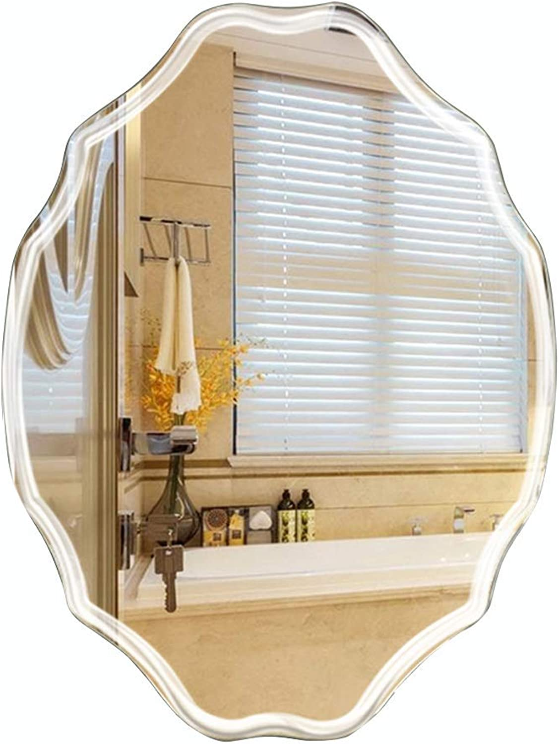 Bathroom mirror Frameless lace Wall Hanging Dressing Table Makeup mirror Hanging 5mm Bedroom Dressing mirror (Size   45  60cm)