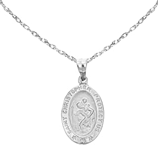 Ritastephens 14k Yellow or White Gold Saint St. Christopher Oval Medal Pendant Charm or Chain Necklace