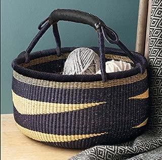 Large African Basket | Round Bolga Basket | Ghana Basket | Plant Pot| Shopper or Market Basket | Picnic | Woven Basket | Toy Storage | Magazine Storage | Colors: Navy Blue & Tan (Large: 14