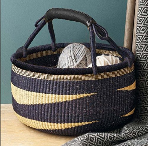 "Large African Basket | Round Bolga Basket | Ghana Basket | Plant Pot| Shopper or Market Basket | Picnic | Woven Basket | Toy Storage | Magazine Storage | Colors: Navy Blue & Tan (Large: 14""-16)"
