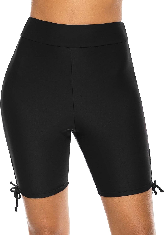 Lecieldusoir Women's Swim Shorts High Waist Bathing Suit Bottoms Swimsuit Tankini Bikini Board Shorts