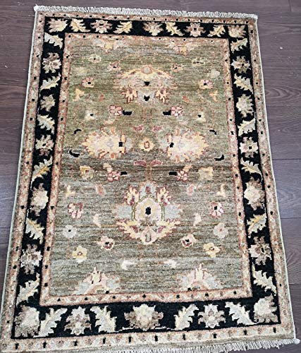 Alfombra de lana afgana, 100% tejida a mano (45RCM0002) (3,7 x 2,7 (pies) 110 x 80 (cm))