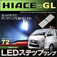 ぴったり設計サイズ スライドドア ステップランプ スーパーGL ハイエース レジアスエース HIACE REGIUSACE 200系 2ピースセット 24SMD 72chip LED