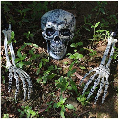 JOYIN Halloween Realistici Teschio E Scheletro Mani Picchetti Rompighiaccio per Le Migliori Decorazioni del Cortile di Halloween