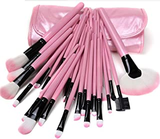 HUDA BAR Makeup Brush Set With Leather Pouch - Pink [Pack of 24]