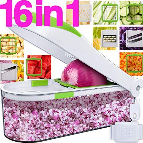Lightning Deal Pro Vegetable Chopper- Onion Chopper Dicer-No More Tears-Peeler Food Chopper Salad Chopper Kitchen Cutter Vegetable Spiralizer Vegetable Slicer Egg Slicer Cheese Grater-16 In 1