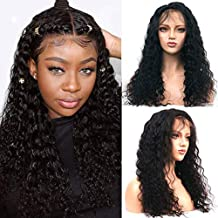 360 Lace Frontal Wig Mongolian Afro Kinky Curly 150% Density Human Remy Hair Thick End Full Wig Bleached Knots With Pre Plucked HCDIVA Human Hair(18inch, 360curly)