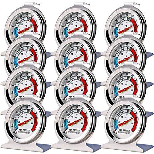 SODIAL Paquet de 12 ThermomèTres à CongéLateur pour RéFrigéRateur ThermomèTre à Grand Cadran avec ThermomèTre Indicateur Rouge pour RéFrigéRateur à CongéLateur