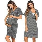 Ekouaer Womens Cotton Short Sleeve V Neck Nursing Nightgown (Black XL)