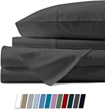 1000 Thread Count Best Bed Sheets 100% Egyptian Cotton Sheets Set - STONE GREY Long-staple Cotton Queen Sheet For Bed, Fits Mattress Upto 18'' Deep Pocket, Soft & Silky Sateen Weave Sheets