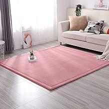 Thicken Tatami Kids Play Mat, Flannel Soft Baby Crawling Carpet No-Slip Children Sleeping Rug Hypoallergenic No-Toxic Blanket-Pink 190x240cm(75x94inch)