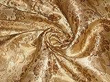 Seide Brokat Stoff braun und gold Muster, 111,8cm -