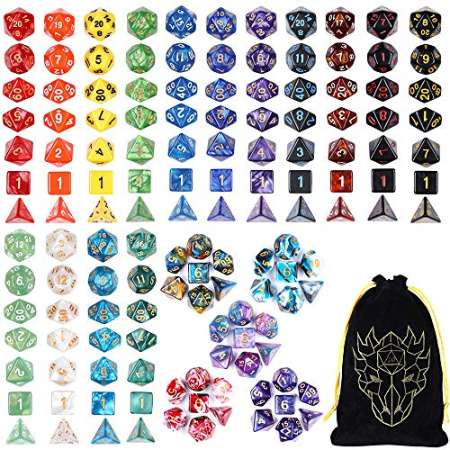 DND Dice Set, 20 Sets D and D Dice 140 Pieces Unique Polyhedron 20 Colors D&D Dice with Flannel Storage Bag for Dungeons and Dragons RPG MTG Table Games